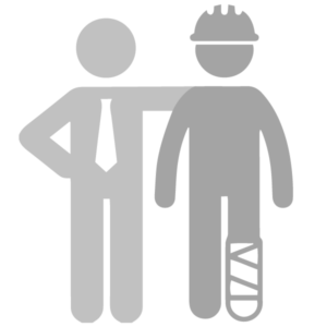 An image portraying a injured employee being represented by a workers compensation lawyer